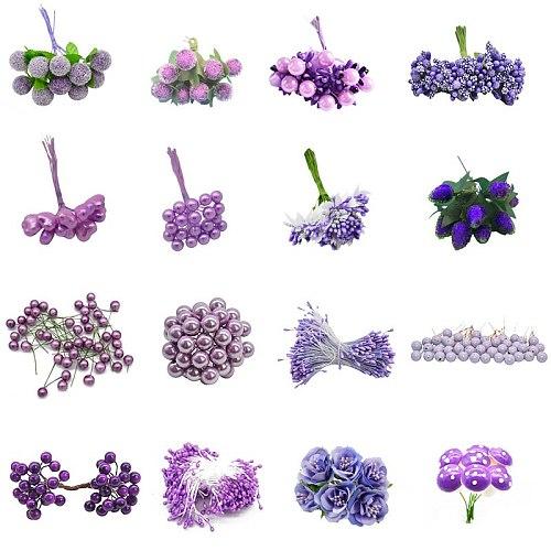 Mix Purple Artificial Flower Cherry Stamen Berries Bundle DIY Christmas Decoration Wedding Cake Gift Box Wreaths Xmas Decor