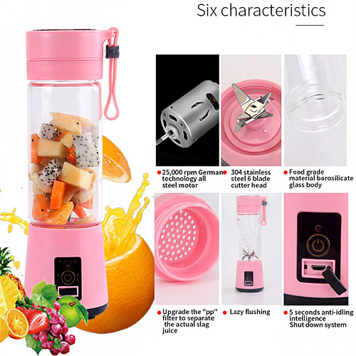 400ml USB Household Portable Rechargeable Water Bottle Multi-Function Juicer Juice Machine Smoothie Maker Kitchen Tools