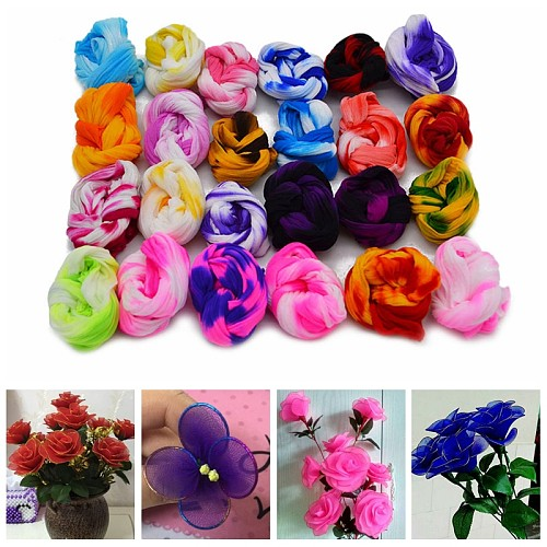 5PCS Multicolor Nylon Stocking Ronde Flower Material Tensile Stocking Material Accessory Handmade Wedding Home DIY Flower Crafts