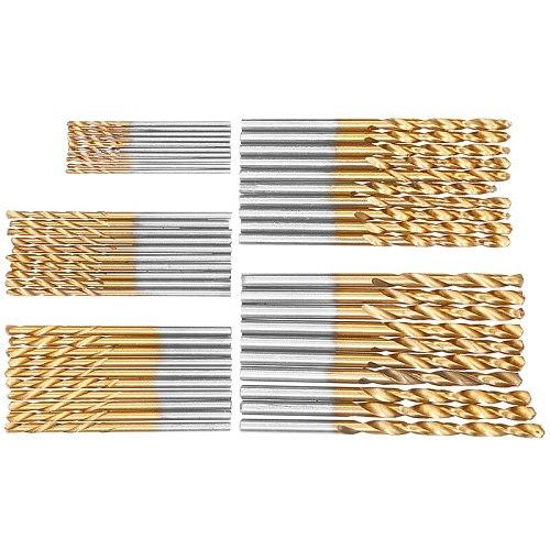50Pcs HSS High Speed Steel Drill Bits Set Titanium Coated Drill Bits Tool High Quality Power Tools 1/1.5/2/2.5/3mm