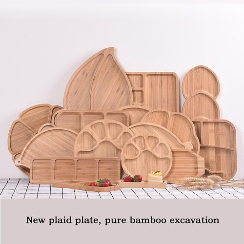 Creative Fresh Food Preservation Tray Bamboo Bowls Plates Solid Wood Food Pan Plate Fruit Dishes Trays Base Solid Wood Plate