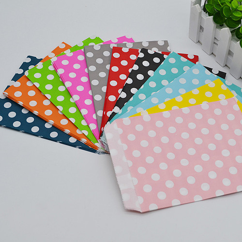 25pcs/lot 13*18cm Dot Paper Bag Candy Cookies Cupcake Bags Kids Birthday Party Foods Packaging Supplies Wedding Decoration
