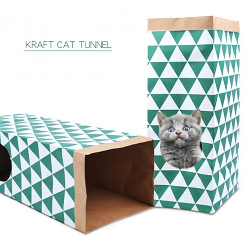 Kraft Paper Pet Cat Tunnel Foldable Funny Pet Tunnel Cave Toy For Small Animal Kitten Hide And Seek Toys Pet Supplies