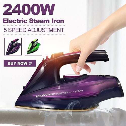 2400W Cordless Electric Steam Iron for garment Steam Generator 5 Speed Adjust Clothes Ironing Steamer Ceramic Soleplate Travel