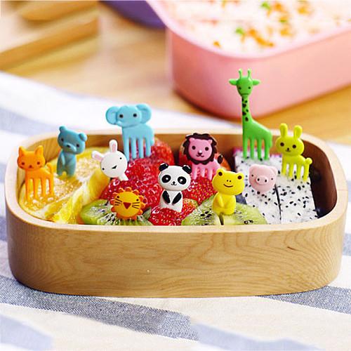 10PCS/Set New Animal Farm Mini Cartoon Fruit Fork Set Useful Bento Box Accessories Plastic Fruit Toothpick Kitchenware