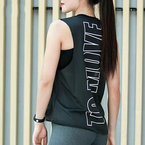 Gym Women Shirt Letter Printed Sports Shirts Tops Gym Sportswear Mesh Breathable Sleeveless Yoga Shirts Fitness Running Tank Top