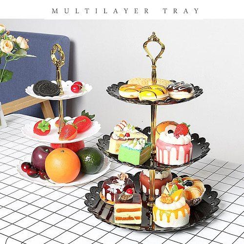 European Fruit Plate Three-Layer Snack Rack Living Room Fruit Bowl Wedding Cake Rack Candy Rack Dessert Vegetable Storage Rack