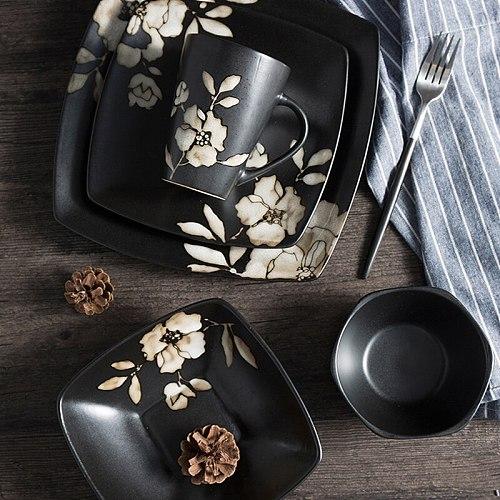 High-Quality Handmade Ceramics Dinnerware Dinner Plate Lunch Plates Water Cup Fruit Tableware Wedding Decoration Kitchen Utensil