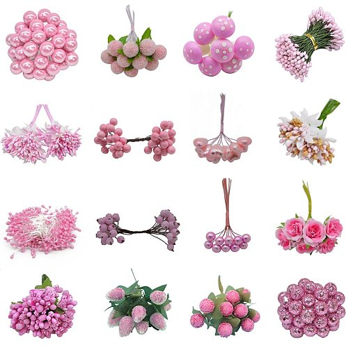 Mixed Pink Plant Flower Cherry Stamen Berries Bundle DIY Christmas Wedding Cake Gift Box Wreaths Decor