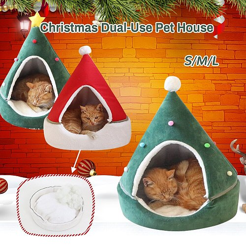 Christmas Cat Dog Bed House Christmas Tree Shape Pet Cat House Home Warm Sleeping Bed New Year Decor Dog Cat Soft Warm Nest Bed