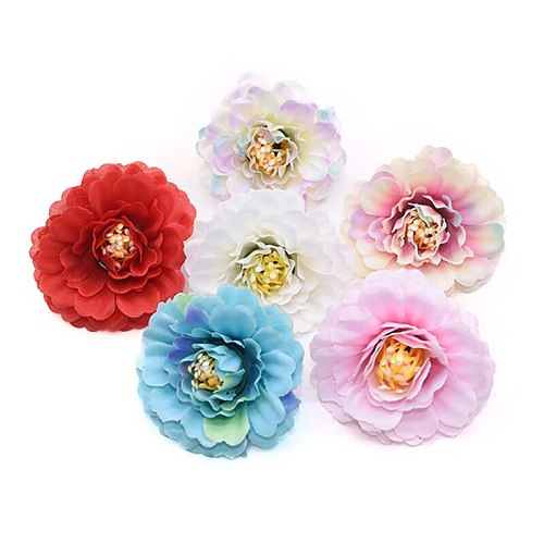10Pcs Artificial Flowers 5cm Silk Rose Flower Head Wedding Party Home Decoration DIY Wreath Scrapbook Craft Fake Flowers Cheap