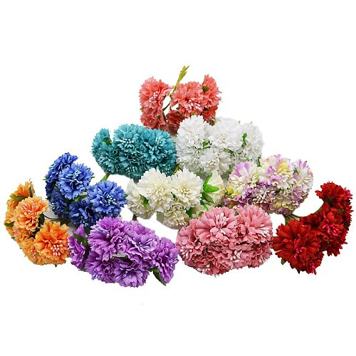 12pcs Silk Chrysanthemum Artificial Flowers Bride Bouquet for Wedding Party Home Decoration Valentine's Day DIY Marriage Wreath