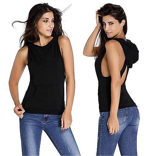 2019 Fitness Backless Cross Sport T Shirt Women Breathable Sleeveless Yoga Shirt Gym Clothes Running Sportswear Hooded Yoga Tops