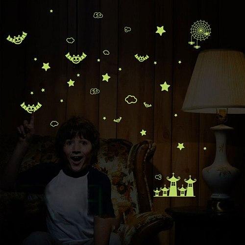 Cute Luminous Children Wall Stickers Animals Stars Kitchen Wall Stickers Decoration Maison New Year Window Kids Room Home Decor