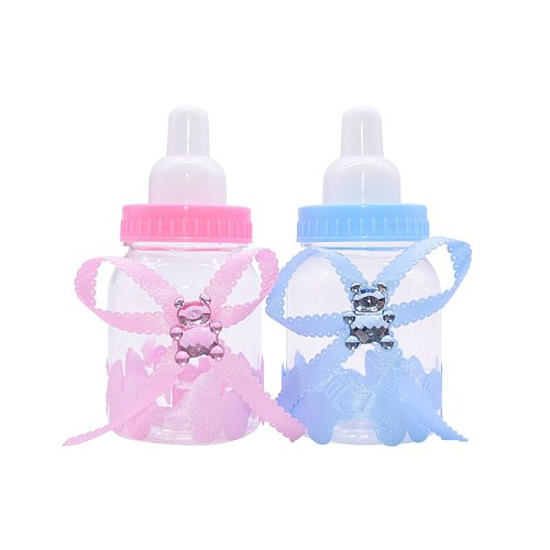 12Pcs Girl Boy Baby Shower Decorations Chocolate Candy Box Bottle Baptism Blue Pink Christening Birthday Party Favors Gift