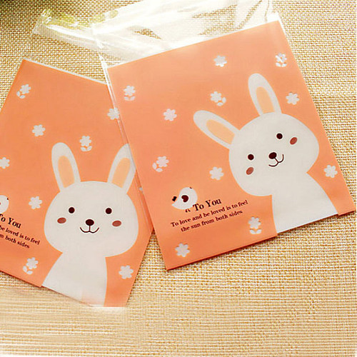 50Pcs Plastic Cartoon Cute Cookie Candy Gift Bag Food Packaging Bag Biscuits Snack Baking Package Wedding Part Easter Gift Bags