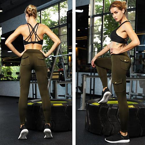 Solid Army Green Yoga Pants With Pockets Sport Leggings Fitness Women Trousers Gym Clothes Training Running Compression Tights