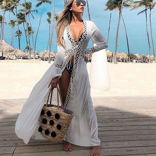 2019 Beach Cover Up Swimwear Women Swimsuit Long Kaftan Beach Tunic Dress Bikini Cover Up Pareo Sarong Beachwear Bathing Suit