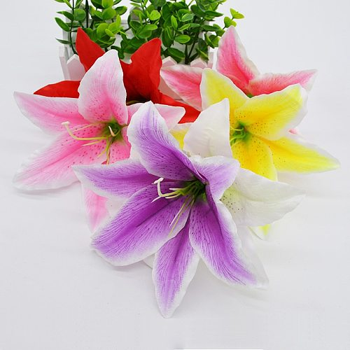 10pcs/lot 18cm Silk Lily Artificial Flower Head For Wedding Decoration DIY Garland Decorative Floristry Fake Flowers