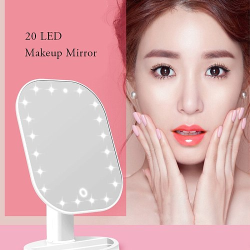 20 LEDs Makeup Mirror with Cosmetic Mirror with Touch Dimmer Switch Battery Operated Stand for Tabletop Bathroom Bedroom Travel