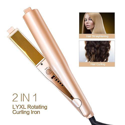 Curling Iron Hair Curler 2 in 1 Gold Twist Hair Curling & Straightening Flat Iron Hair Straightener Curling Wand Hair Crimper