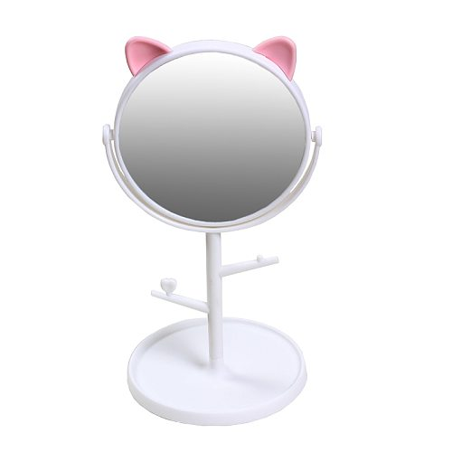 Makeup Mirror or 10X mirror can choose Cat ears Cosmetic Mirror Operated Stand for Tabletop Bathroom Travel