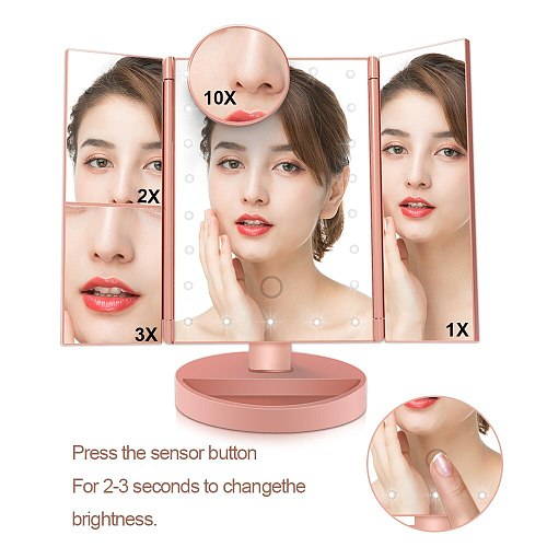 Portable Led Makeup Mirror Touch Screen Mirror With Light 1X/2X/3X/10X Magnifying 3 Folding Hollywood Vanity Mirror Lights