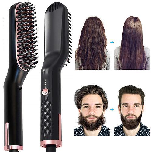 Men Beard Straightener Multifunctional Hair Comb Hair Straightener Brush Mens Beard Shaping Tool Hair Iron Straightening Comb