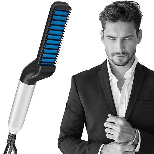Electric Hair Straightener Brush Men Beard Straightener Styler Heated Beard Comb Ceramic Curler Hair Iron Straightening Brush