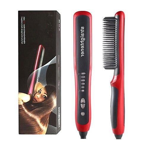 Electric Hair Beard Straightener Comb Beard Straightening Comb Boys Men Beard Brush Grooming Kit Hair Iron Straightener Brush
