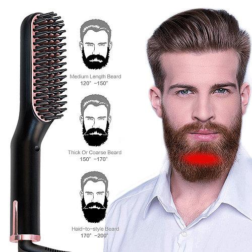Hair Straightener Brush Multifunctional Electric Heated Comb Ceramic Hair Iron Straightening Comb Men Beard Straightener Brush