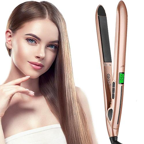 Hair Straightener 2 in 1 Flat Iron & Curling Iron Negative Ion Hair Straightening LCD Hair Waver Curling Tongs Hair Curler