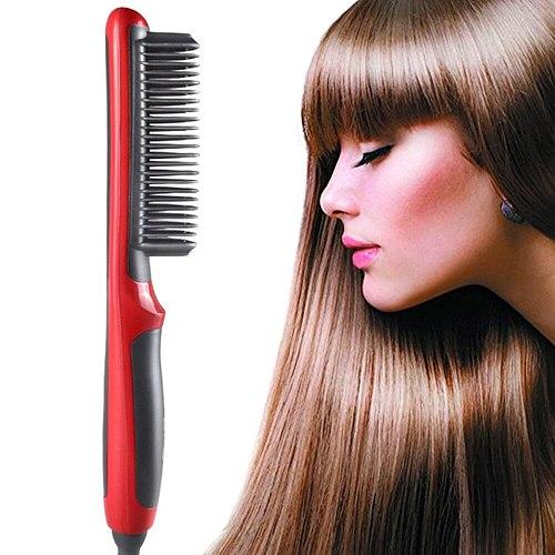 ElectricHair Straightener Brush Ceramic HairIron StraighteningComb Women Men Hair Beard Straightener Comb Fast Heated Brush