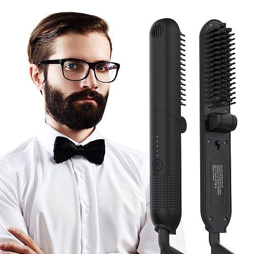 Hair Straightening Irons Brush Foldable Beard Comb Multifunctional Hair Comb Brush Hair Straightener Men Beard Straighteners