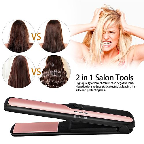Mini Hair Straightener Cordless Flat Iron Straightening Rechargeable Curling Iron Hair Curler Crimper Professional Curling Tongs