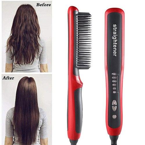 Hair Iron Straightening Comb Men Beard Hair Straightener Brush Ceramic Curler Heated Beard Comb Electric Hair Brush Straightener