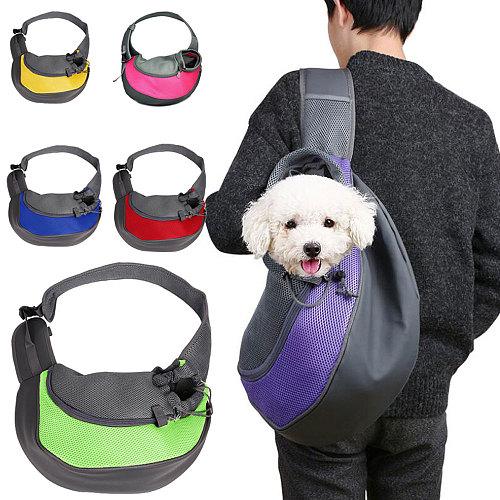 Pet Puppy Carrier Outdoor Travel Handbag Pouch Mesh Oxford Single Shoulder Bag Sling Mesh Comfort Travel Tote Shoulder Bag