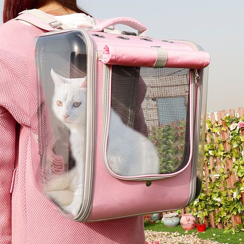 Pet Cat Carrier Backpack Breathable Cat Travel Outdoor Shoulder Bag For Small Dogs Cats Portable Packaging Carrying Pet Supplies