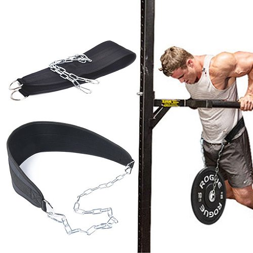 Weight Lifting Belt With Chain Fitness Equipment Drop Shipping Dip Belt Pull Up Belt For Powerlifting Bodybuilding Crossfit
