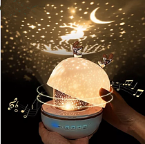 Deer Projector Night Light With BT Speaker Chargeable Starry Sky Star Rotate LED Lamp Colorful Flashing Star Kids Baby Gift