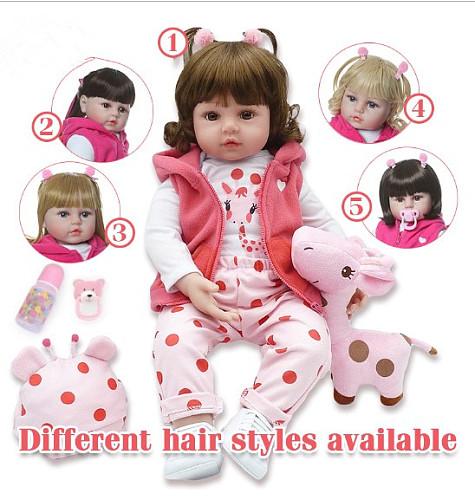 48cm boneca reborn silicone reborn baby dolls com corpo de silicone menina baby dolls kids birthday Christmas gift