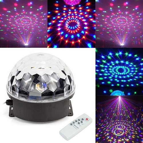 LED Disco Sound Activated Rotating Stage Lights MP3 Player With Remote Control 6 Colors Digital RGB Disco Crystal Magic Ball
