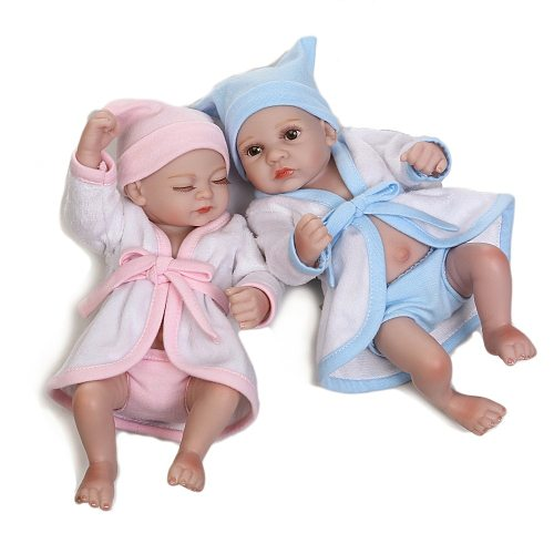28CM Waterproof Mini Baby Doll Pair Lifelike Living Doll Solid Silicone Children Gift