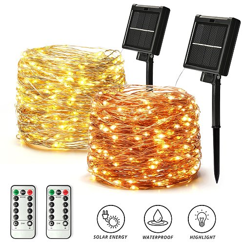 50/100/200/300/400 LED Solar Light Outdoor Lamp String Lights For Holiday Christmas Party Waterproof Fairy Lights Garden Garland