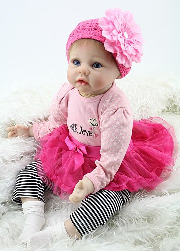 Silicone Reborn Baby Dolls Fashion Baby 55cm Realistic Lovely adorable bebe girl wearing dress Kids toys for Girl