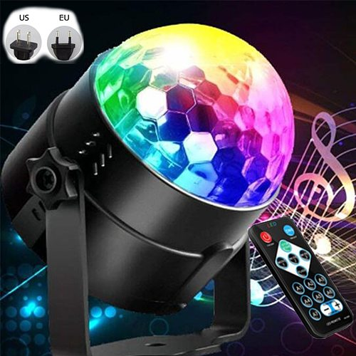 Sound Activated Rotating Disco Ball DJ Party Lights 3W 3LED RGB LED Stage Lights For Christmas Wedding sound party lights
