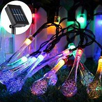 6.5/5M 30LED Solar Droplet Bulb Fairy String Lights Outdoor Waterproof Christmas Garden Light Lawn Courtyard Solar Lamp Decor
