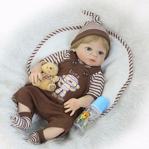 23'' Lifelike Reborn Baby Dolls Babies Doll Full Vinyl Body So Truly Boy Model Doll For Toddler bebe Toy Gifts