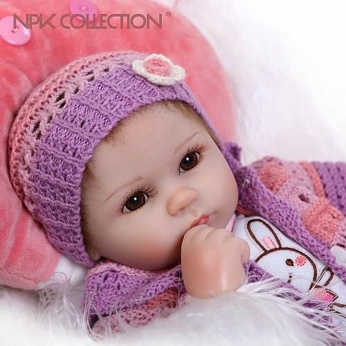 40CM Reborn Baby Doll Realistic Soft silicone Reborn Babies Girl Adorable Bebe Kids Brinquedos boneca Toy Gifts