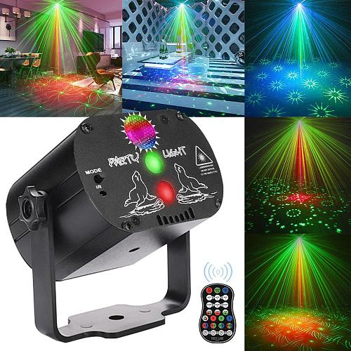 Mini RGB Disco Light DJ LED Laser Stage Projector red blue green Lamp USB Rechargeable Wedding Birthday Party DJ Lamp